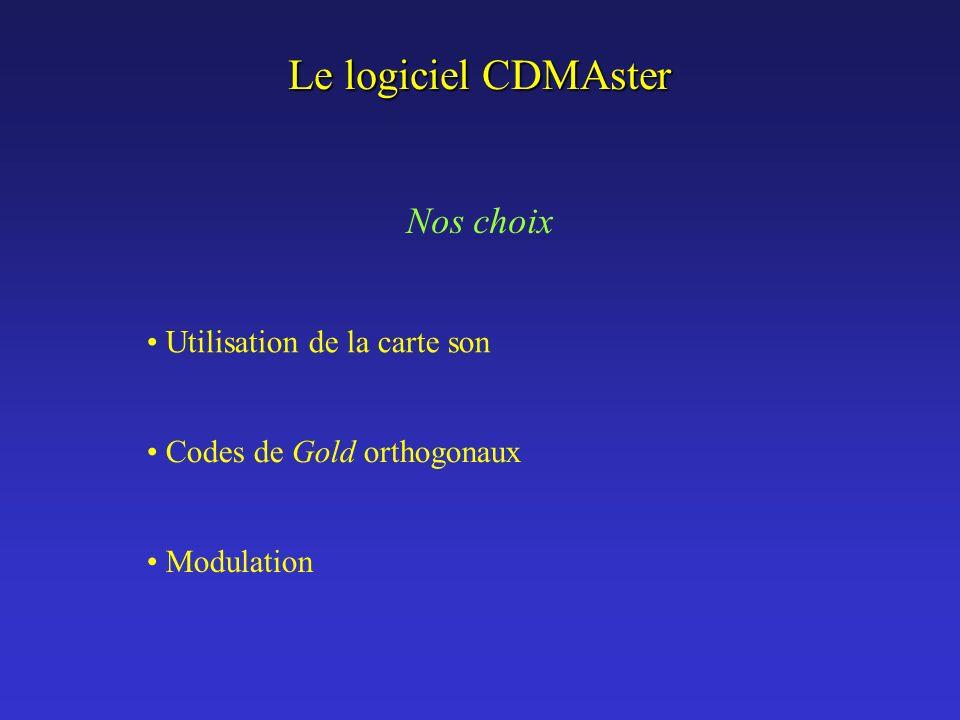 Le logiciel CDMAster Utilisation de la carte son Codes de Gold orthogonaux Modulation Nos choix