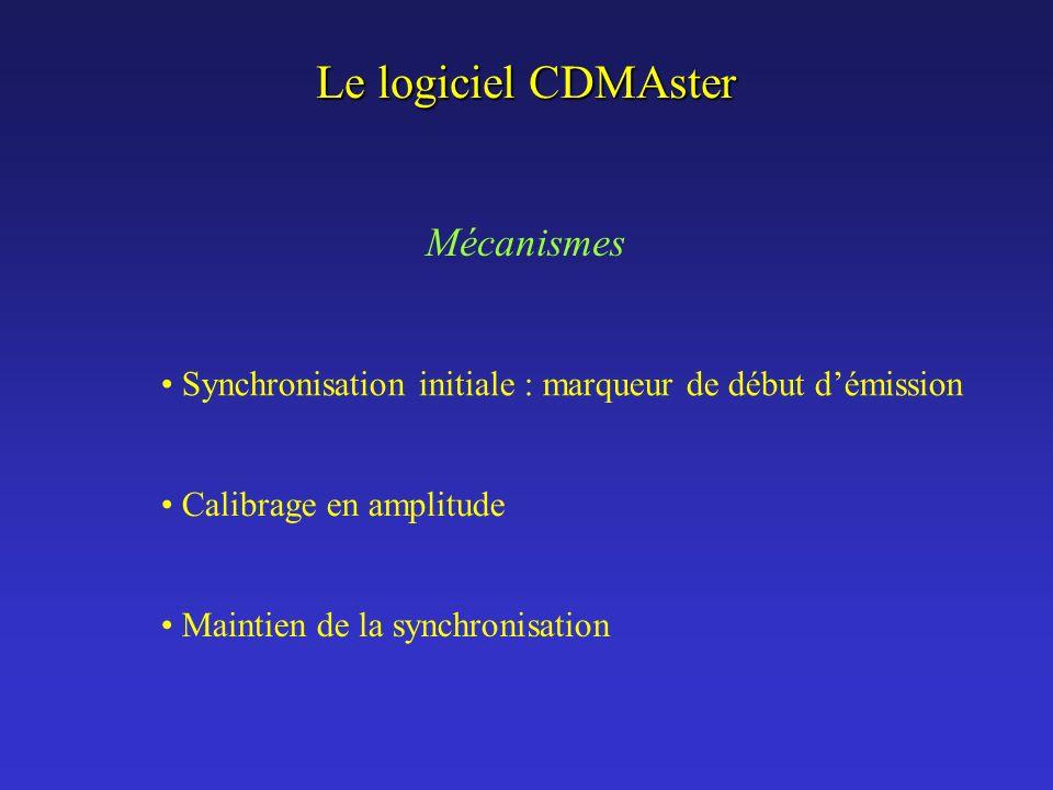 Le logiciel CDMAster Synchronisation initiale : marqueur de début démission Calibrage en amplitude Maintien de la synchronisation Mécanismes