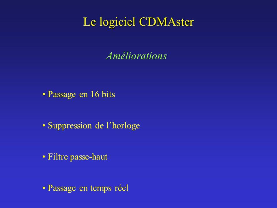 Le logiciel CDMAster Passage en 16 bits Suppression de lhorloge Filtre passe-haut Améliorations Passage en temps réel