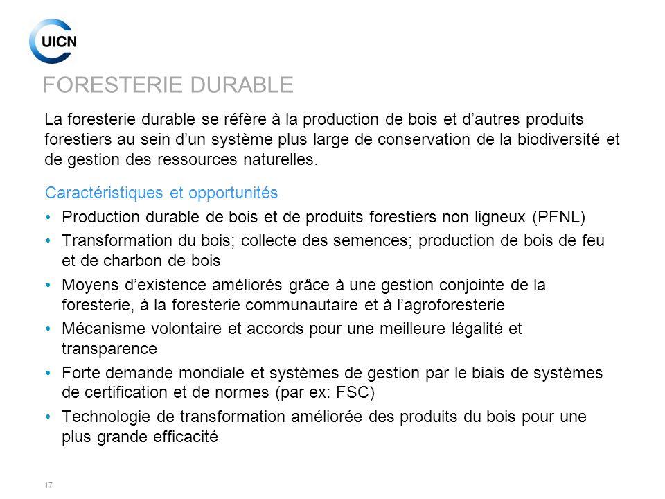 17 FORESTERIE DURABLE Caractéristiques et opportunités Production durable de bois et de produits forestiers non ligneux (PFNL) Transformation du bois;