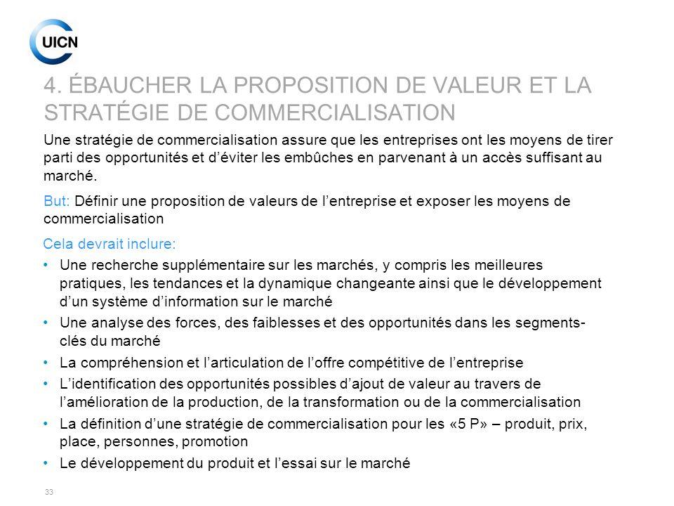 33 4. ÉBAUCHER LA PROPOSITION DE VALEUR ET LA STRATÉGIE DE COMMERCIALISATION Cela devrait inclure: Une recherche supplémentaire sur les marchés, y com