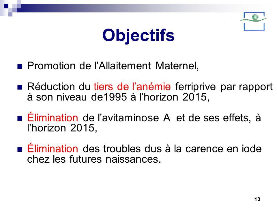 13 Objectifs Promotion de lAllaitement Maternel, Réduction du tiers de lanémie ferriprive par rapport à son niveau de1995 à lhorizon 2015, Élimination
