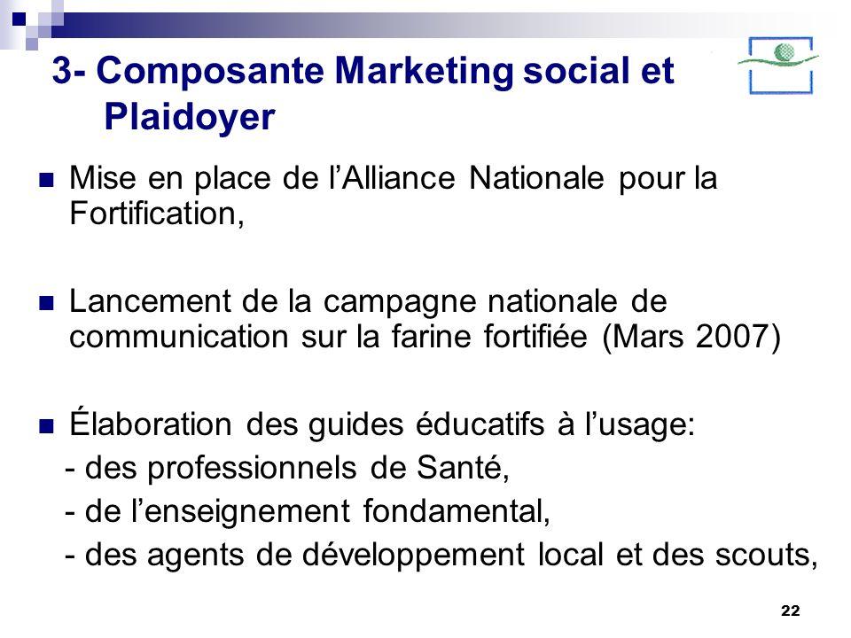 22 3- Composante Marketing social et Plaidoyer Mise en place de lAlliance Nationale pour la Fortification, Lancement de la campagne nationale de commu