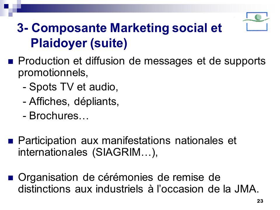 23 3- Composante Marketing social et Plaidoyer (suite) Production et diffusion de messages et de supports promotionnels, - Spots TV et audio, - Affich