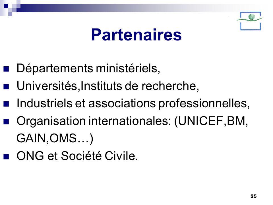 25 Partenaires Départements ministériels, Universités,Instituts de recherche, Industriels et associations professionnelles, Organisation international