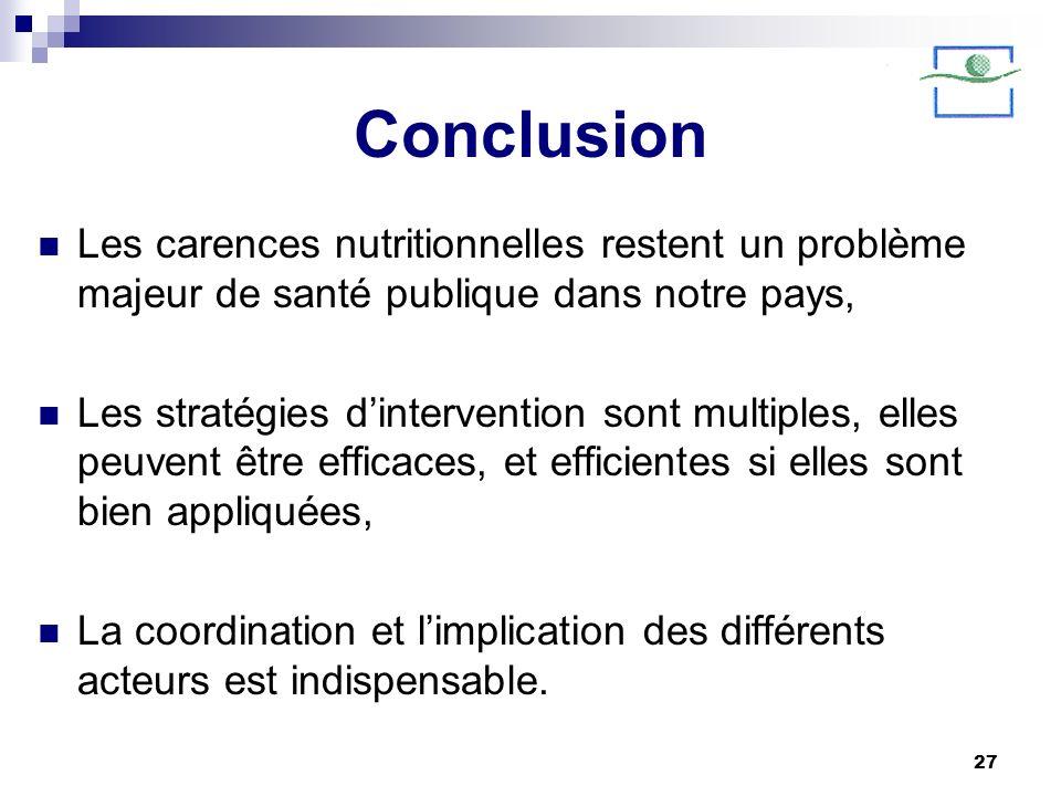 27 Conclusion Les carences nutritionnelles restent un problème majeur de santé publique dans notre pays, Les stratégies dintervention sont multiples,