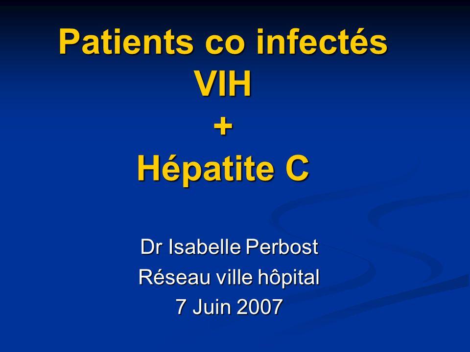 Co infection VIH VHB/VHC: un peu dépidémiologie Au plan mondial: Au plan mondial: 180 MO de porteurs VHC chronique 180 MO de porteurs VHC chronique (1% à 8% selon les pays) 500 000 personnes en France En Europe parmi les patients VIH+ En Europe parmi les patients VIH+ 40% sont coinfectés VHC 40% sont coinfectés VHC