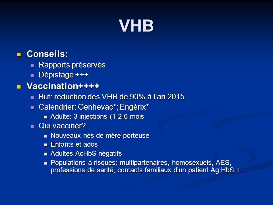 VHB Conseils: Conseils: Rapports préservés Rapports préservés Dépistage +++ Dépistage +++ Vaccination++++ Vaccination++++ But: réduction des VHB de 90