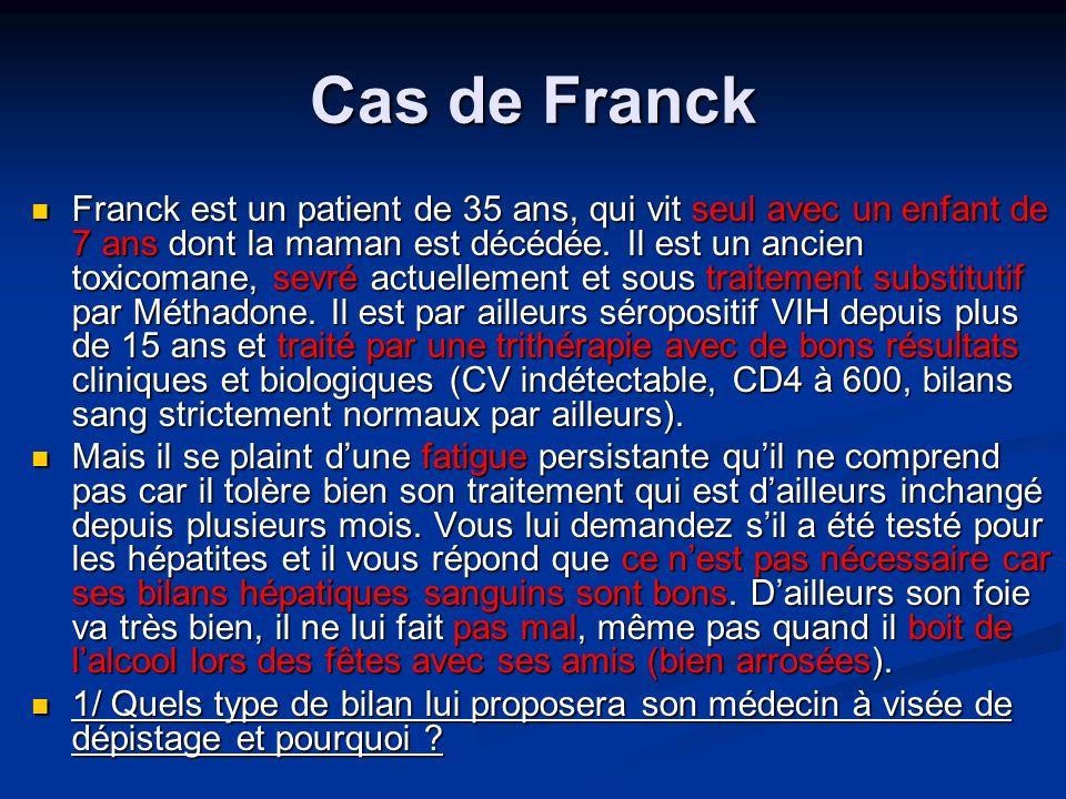 Cas de Franck Franck est un patient de 35 ans, qui vit seul avec un enfant de 7 ans dont la maman est décédée. Il est un ancien toxicomane, sevré actu
