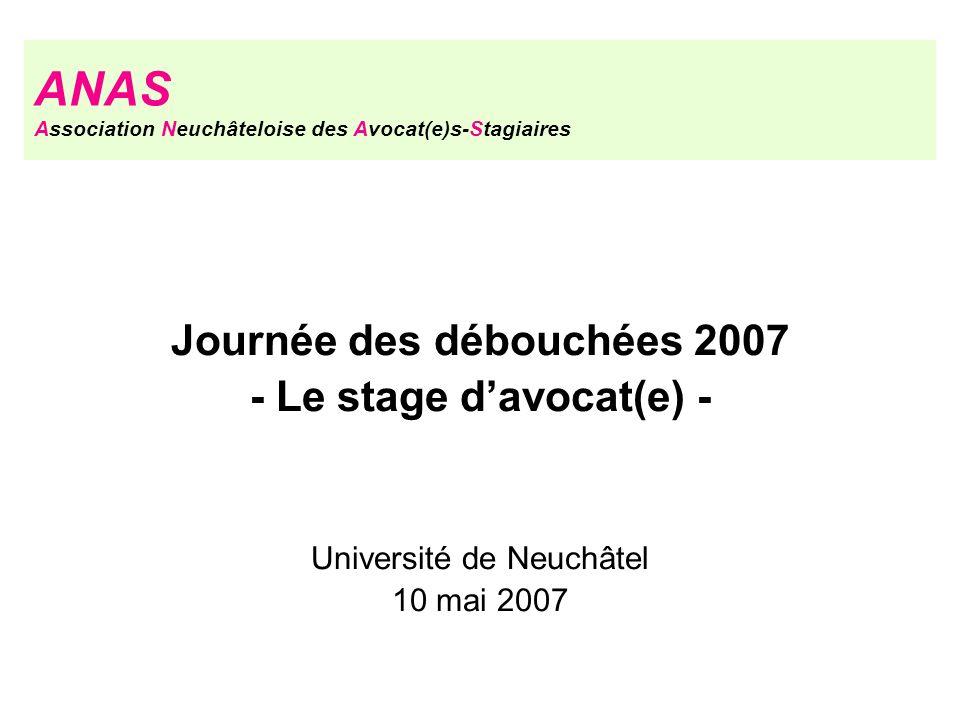 Journée des débouchées 2007 - Le stage davocat(e) - Université de Neuchâtel 10 mai 2007 ANAS Association Neuchâteloise des Avocat(e)s-Stagiaires