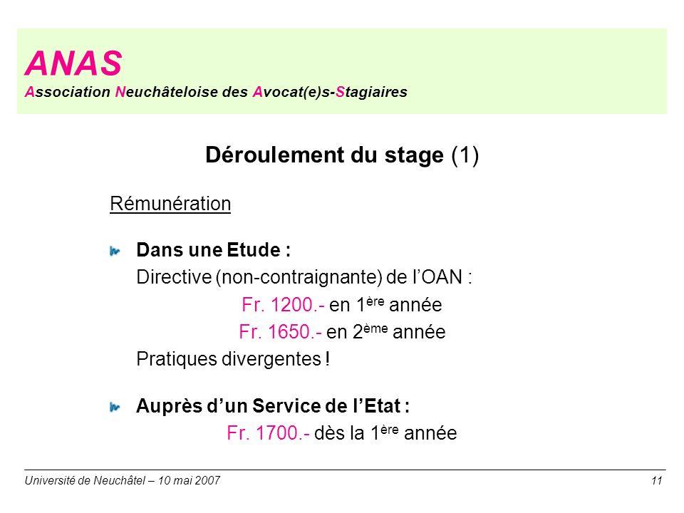 ANAS Association Neuchâteloise des Avocat(e)s-Stagiaires Déroulement du stage (1) Rémunération Dans une Etude : Directive (non-contraignante) de lOAN