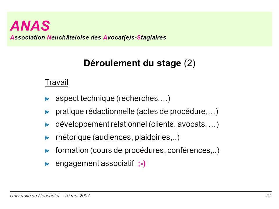 ANAS Association Neuchâteloise des Avocat(e)s-Stagiaires Déroulement du stage (2) Travail aspect technique (recherches,…) pratique rédactionnelle (act