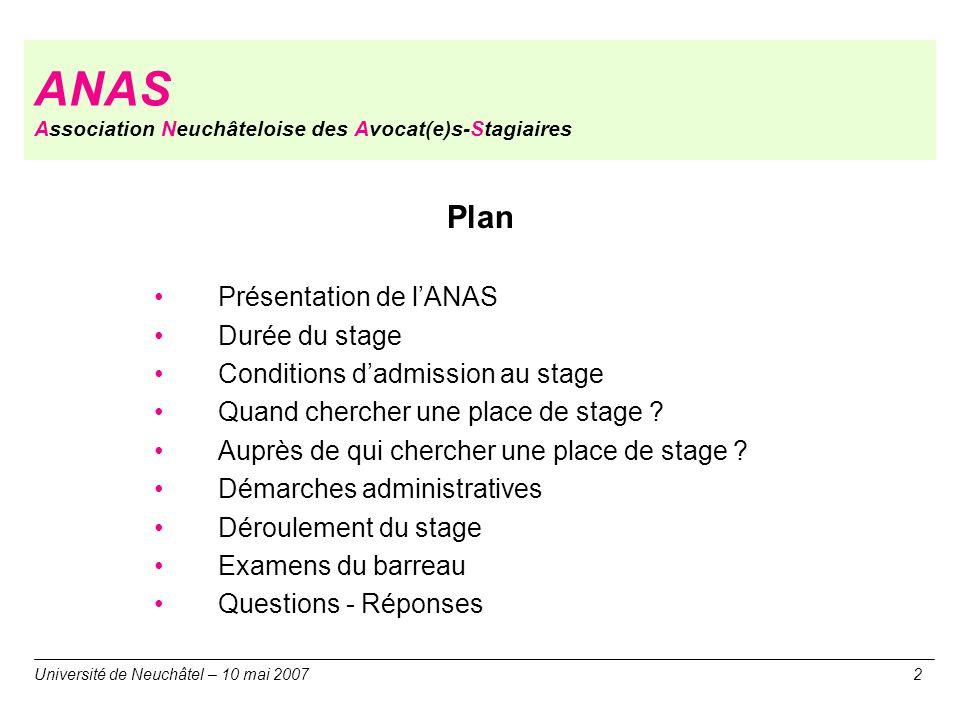 Plan Présentation de lANAS Durée du stage Conditions dadmission au stage Quand chercher une place de stage ? Auprès de qui chercher une place de stage