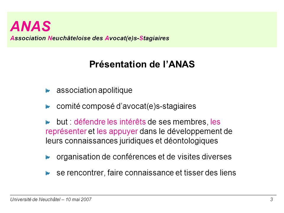 ANAS Association Neuchâteloise des Avocat(e)s-Stagiaires Présentation de lANAS association apolitique comité composé davocat(e)s-stagiaires but : défe