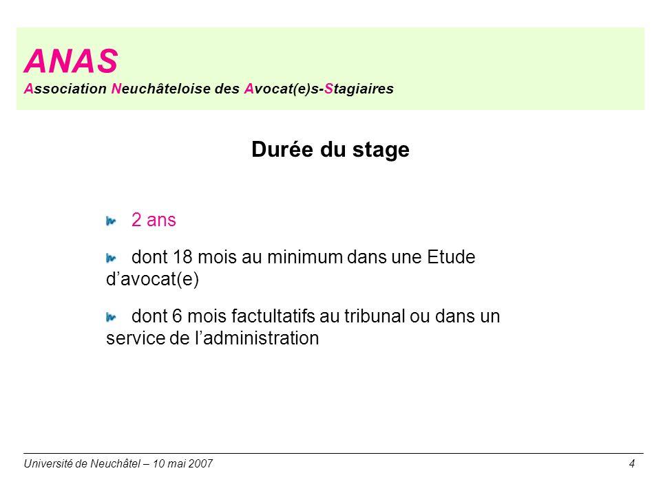 ANAS Association Neuchâteloise des Avocat(e)s-Stagiaires Durée du stage 2 ans dont 18 mois au minimum dans une Etude davocat(e) dont 6 mois factultati