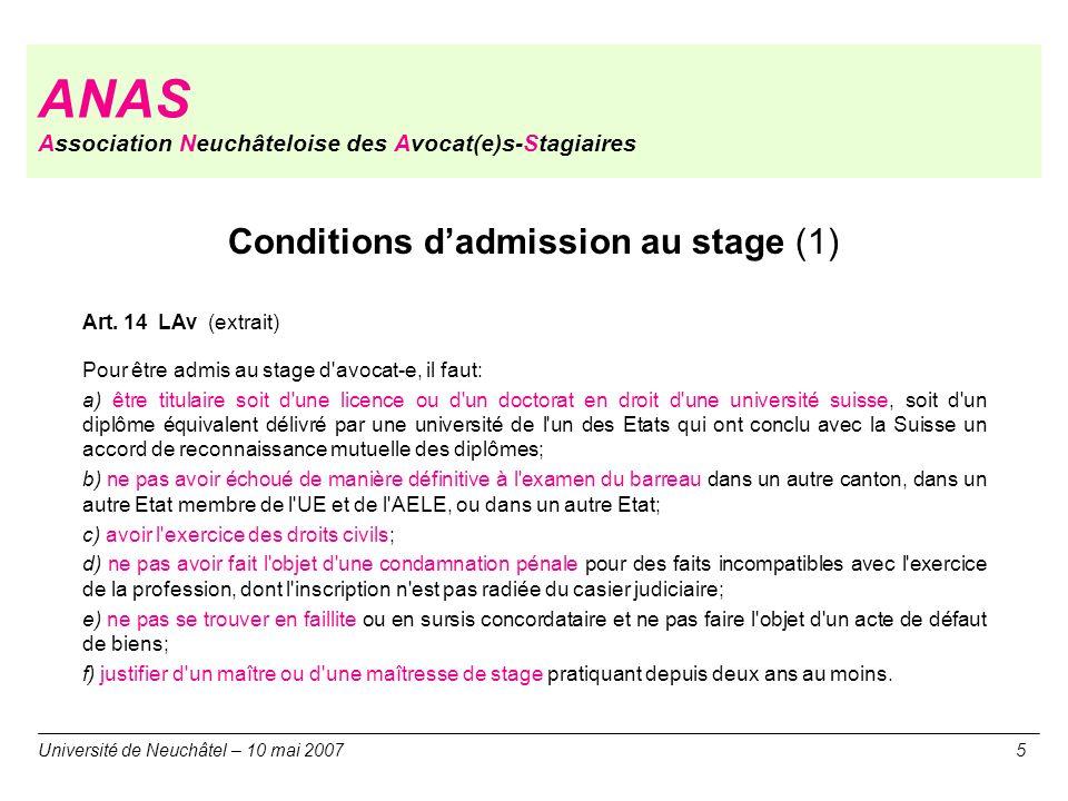 ANAS Association Neuchâteloise des Avocat(e)s-Stagiaires Université de Neuchâtel – 10 mai 20075 Conditions dadmission au stage (1) Art. 14 LAv (extrai