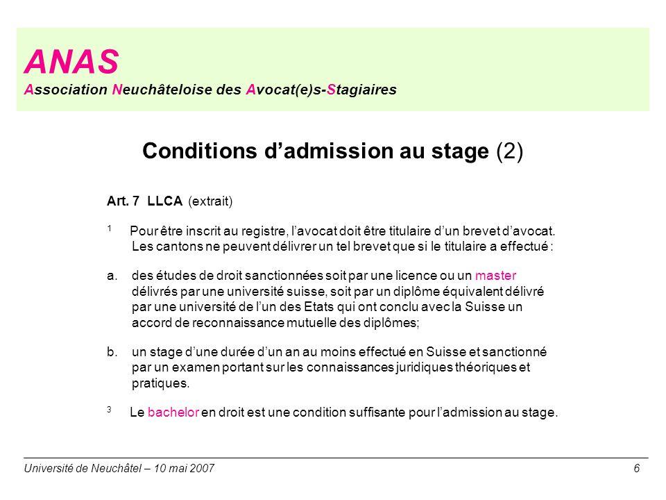 ANAS Association Neuchâteloise des Avocat(e)s-Stagiaires Université de Neuchâtel – 10 mai 20076 Conditions dadmission au stage (2) Art. 7 LLCA (extrai