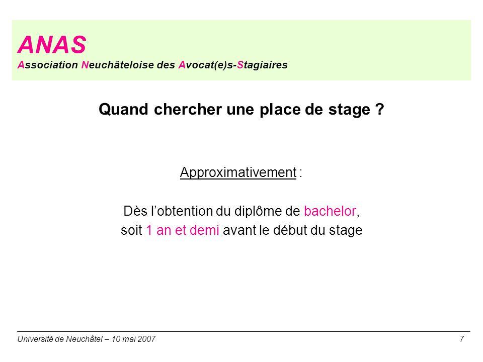 ANAS Association Neuchâteloise des Avocat(e)s-Stagiaires Quand chercher une place de stage ? Approximativement : Dès lobtention du diplôme de bachelor