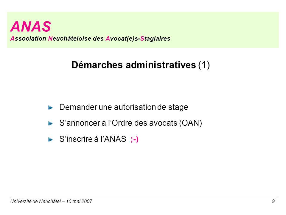 ANAS Association Neuchâteloise des Avocat(e)s-Stagiaires Université de Neuchâtel – 10 mai 20079 Démarches administratives (1) Demander une autorisatio