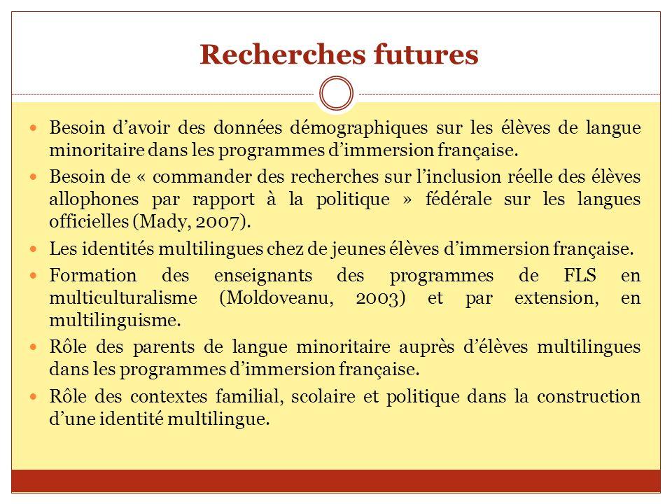 Recherches futures Besoin davoir des données démographiques sur les élèves de langue minoritaire dans les programmes dimmersion française. Besoin de «