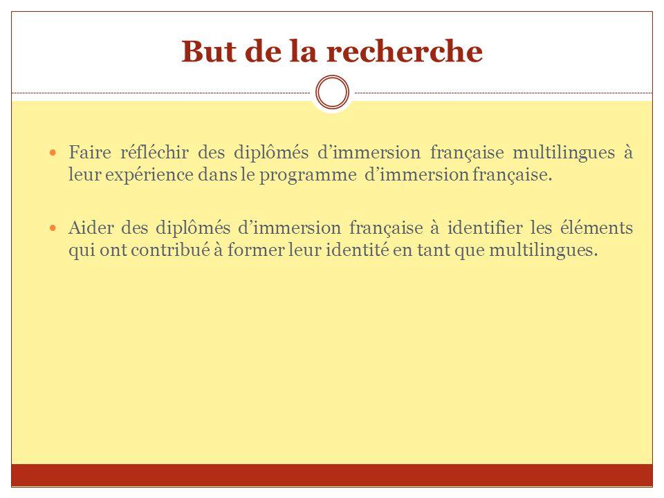 But de la recherche Faire réfléchir des diplômés dimmersion française multilingues à leur expérience dans le programme dimmersion française. Aider des