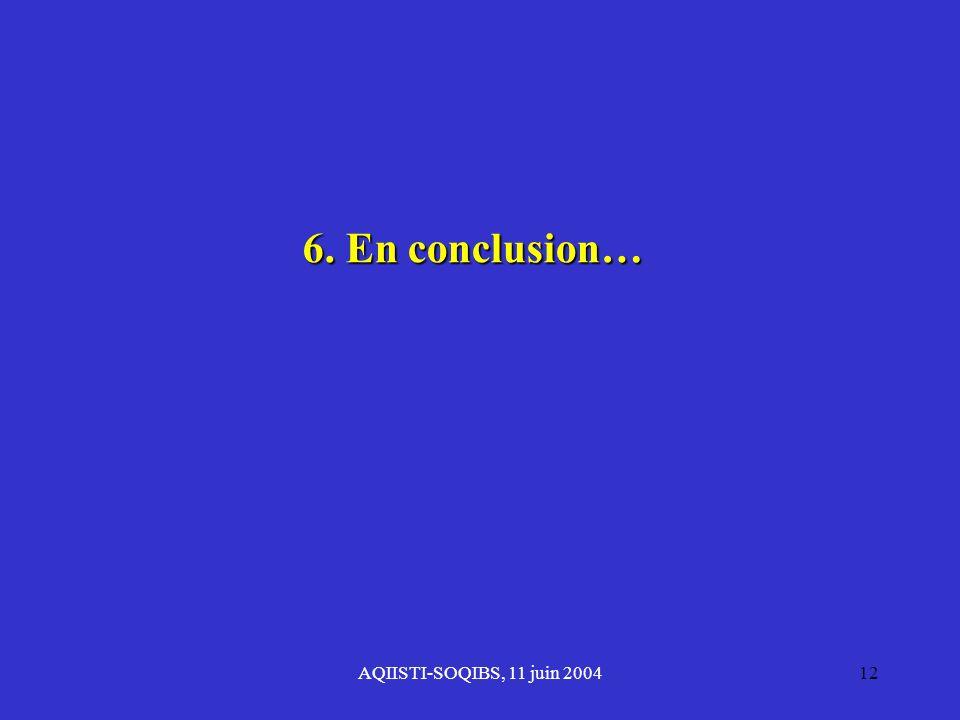 AQIISTI-SOQIBS, 11 juin 200412 6. En conclusion…
