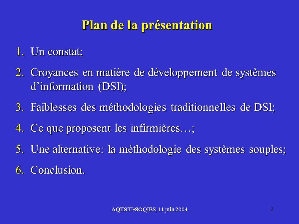 AQIISTI-SOQIBS, 11 juin 20042 Plan de la présentation 1.Un constat; 2. Croyances en matière de développement de systèmes dinformation (DSI); 3. Faible