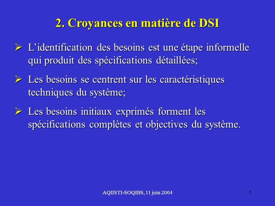 AQIISTI-SOQIBS, 11 juin 20045 2. Croyances en matière de DSI Lidentification des besoins est une étape informelle qui produit des spécifications détai