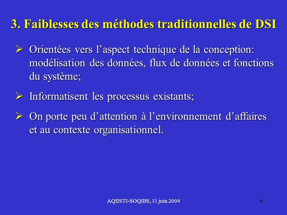 AQIISTI-SOQIBS, 11 juin 20046 3. Faiblesses des méthodes traditionnelles de DSI Orientées vers laspect technique de la conception: modélisation des do