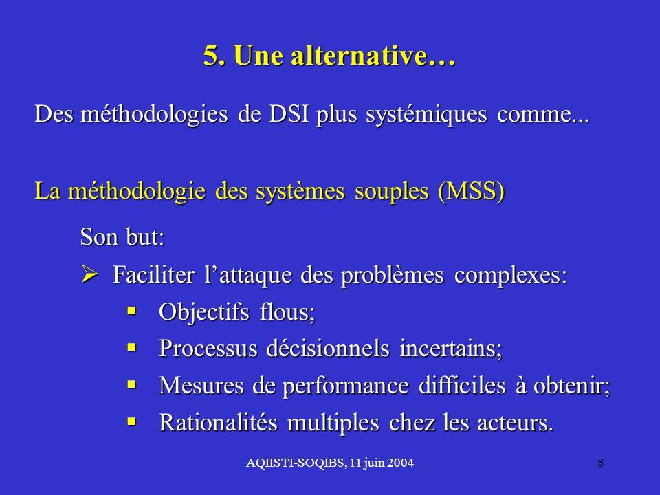 AQIISTI-SOQIBS, 11 juin 20048 5. Une alternative… Des méthodologies de DSI plus systémiques comme... La méthodologie des systèmes souples (MSS) Son bu