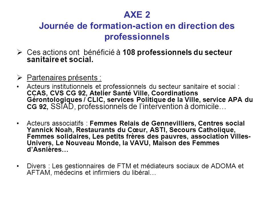 AXE 2 Journée de formation-action en direction des professionnels Ces actions ont bénéficié à 108 professionnels du secteur sanitaire et social. Parte