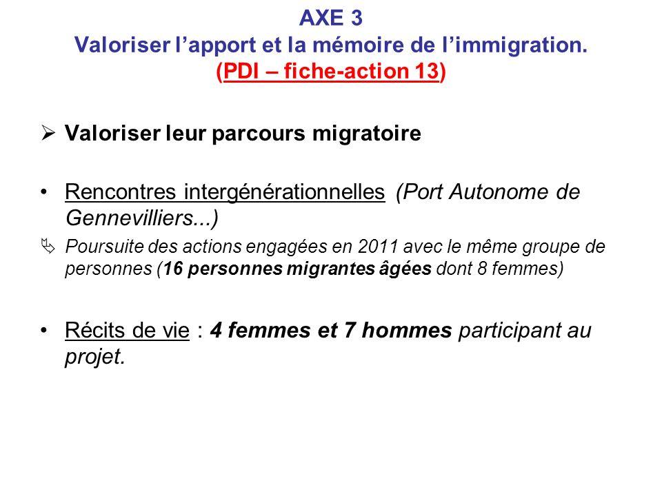 AXE 3 Valoriser lapport et la mémoire de limmigration. (PDI – fiche-action 13) Valoriser leur parcours migratoire Rencontres intergénérationnelles (Po