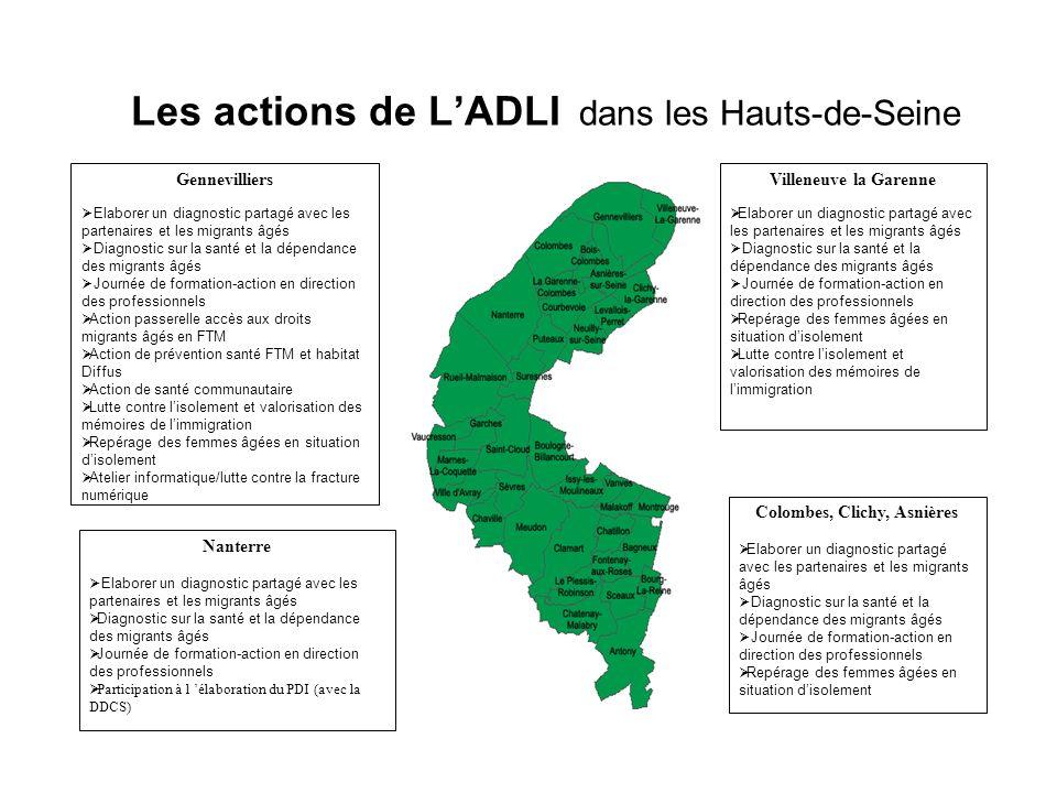 Les actions de LADLI dans les Hauts-de-Seine Villeneuve la Garenne Elaborer un diagnostic partagé avec les partenaires et les migrants âgés Diagnostic