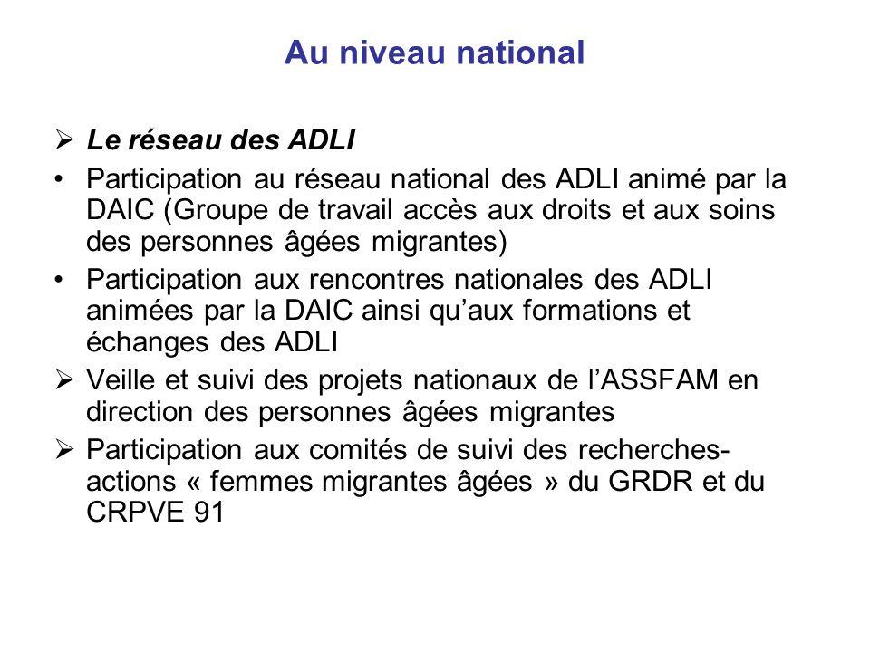 Au niveau national Le réseau des ADLI Participation au réseau national des ADLI animé par la DAIC (Groupe de travail accès aux droits et aux soins des