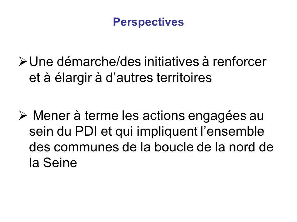 Perspectives Une démarche/des initiatives à renforcer et à élargir à dautres territoires Mener à terme les actions engagées au sein du PDI et qui impl
