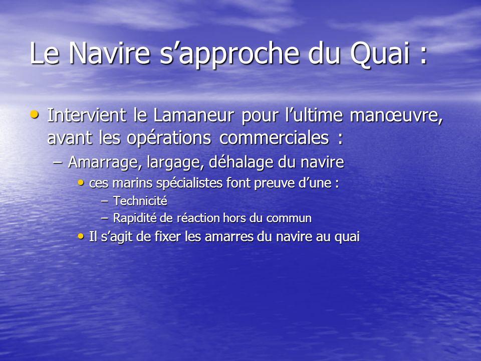 Le Navire sapproche du Quai : Intervient le Lamaneur pour lultime manœuvre, avant les opérations commerciales : Intervient le Lamaneur pour lultime ma