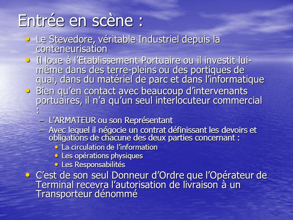 Entrée en scène : Le Stevedore, véritable Industriel depuis la conteneurisation Le Stevedore, véritable Industriel depuis la conteneurisation Il loue