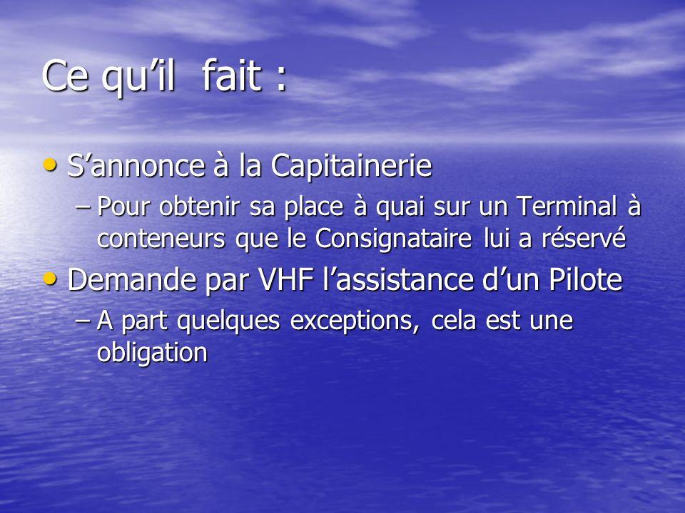 Ce quil fait : Sannonce à la Capitainerie Sannonce à la Capitainerie –Pour obtenir sa place à quai sur un Terminal à conteneurs que le Consignataire l
