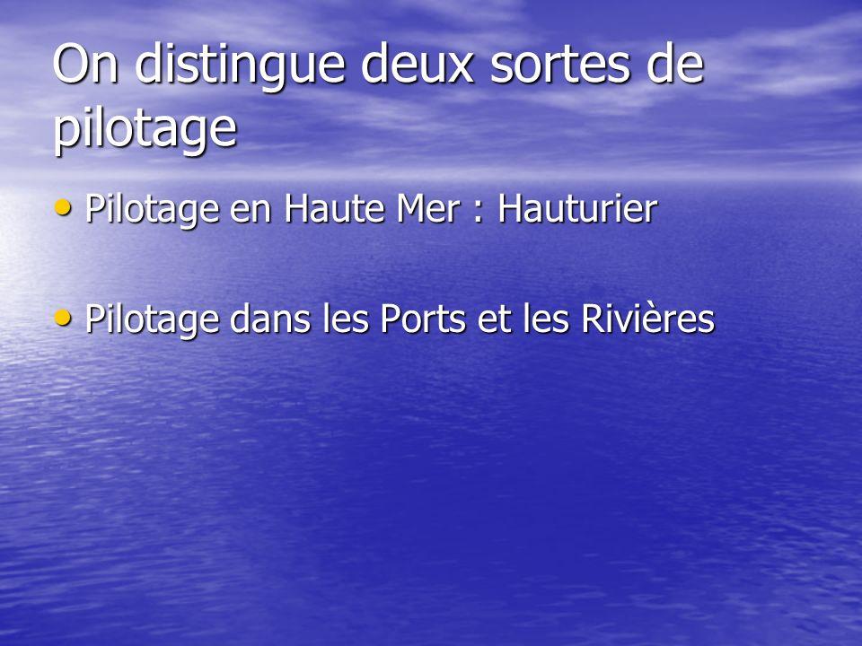 On distingue deux sortes de pilotage Pilotage en Haute Mer : Hauturier Pilotage en Haute Mer : Hauturier Pilotage dans les Ports et les Rivières Pilot