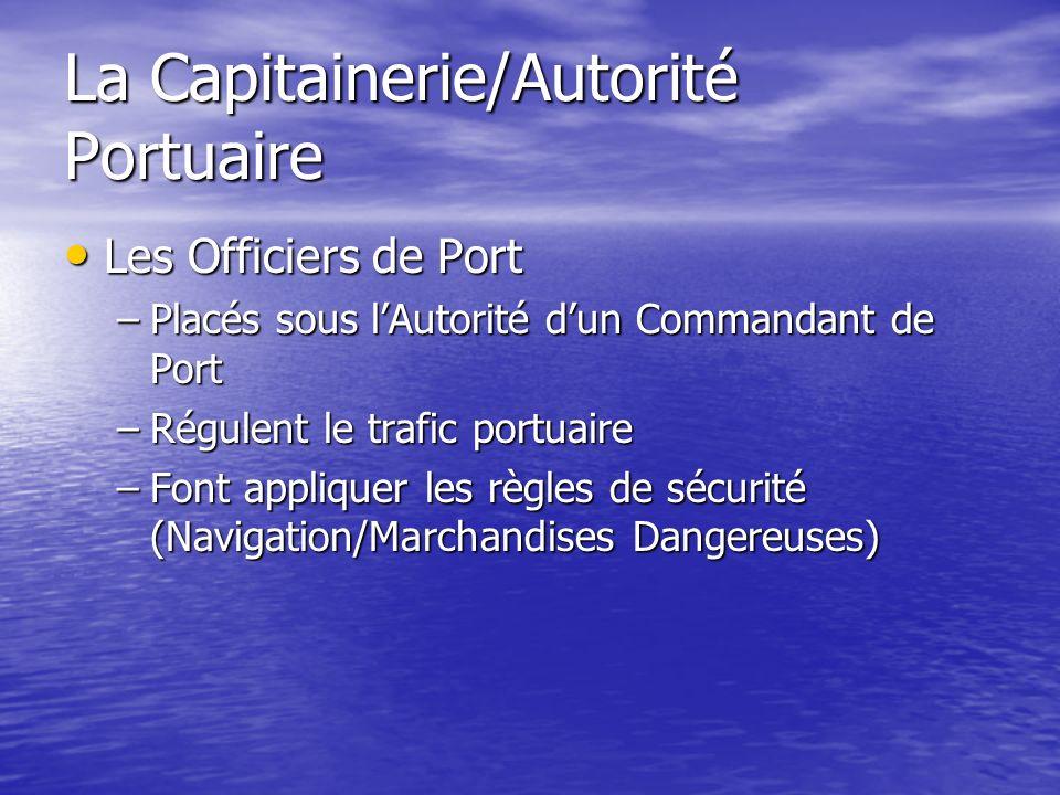 La Capitainerie/Autorité Portuaire Les Officiers de Port Les Officiers de Port –Placés sous lAutorité dun Commandant de Port –Régulent le trafic portu
