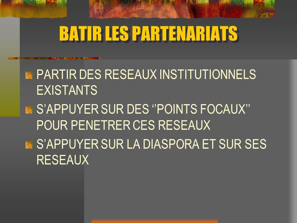 BATIR LES PARTENARIATS PARTIR DES RESEAUX INSTITUTIONNELS EXISTANTS SAPPUYER SUR DES POINTS FOCAUX POUR PENETRER CES RESEAUX SAPPUYER SUR LA DIASPORA