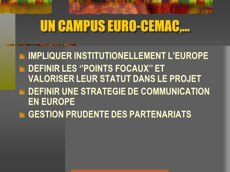 UN CAMPUS EURO-CEMAC,… IMPLIQUER INSTITUTIONELLEMENT LEUROPE DEFINIR LES POINTS FOCAUX ET VALORISER LEUR STATUT DANS LE PROJET DEFINIR UNE STRATEGIE D