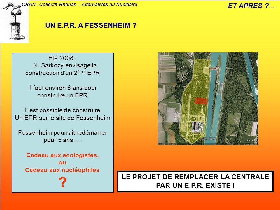 CRAN : Collectif Rhénan - Alternatives au Nucléaire UN E.P.R. A FESSENHEIM ? Eté 2008 : N. Sarkozy envisage la construction d'un 2 ème EPR Il faut env