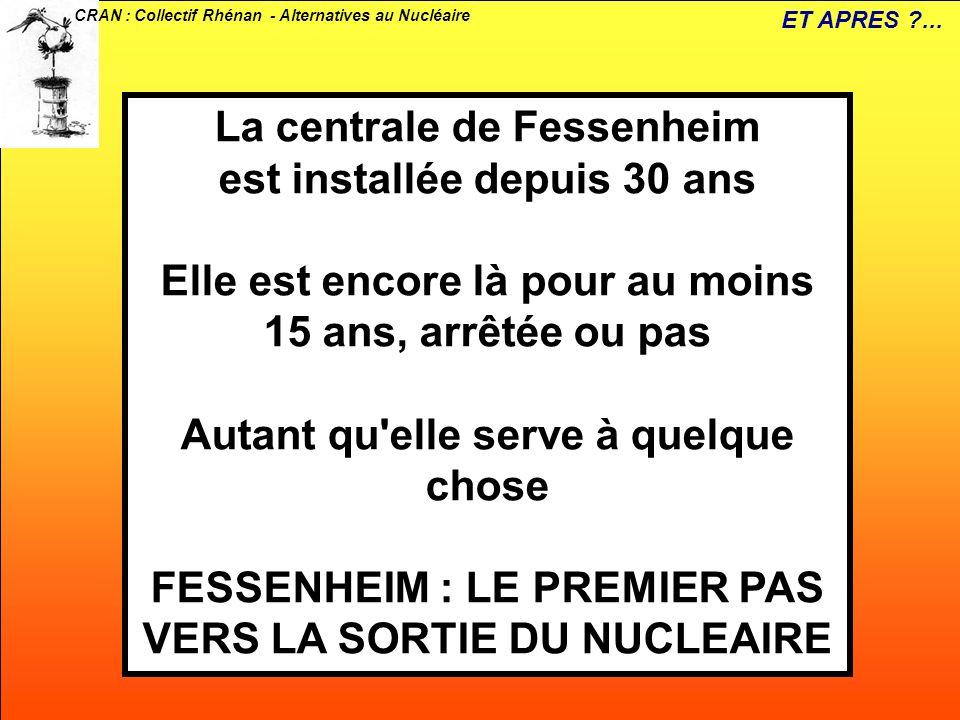 CRAN : Collectif Rhénan - Alternatives au Nucléaire La centrale de Fessenheim est installée depuis 30 ans Elle est encore là pour au moins 15 ans, arr