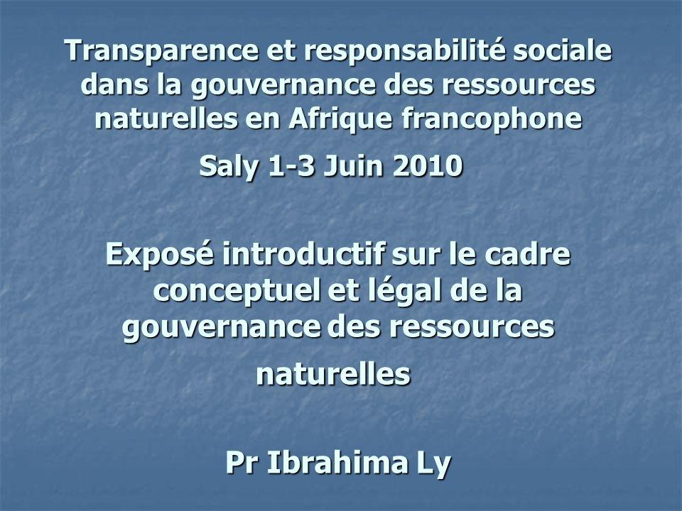 Transparence et responsabilité sociale dans la gouvernance des ressources naturelles en Afrique francophone Saly 1-3 Juin 2010 Exposé introductif sur