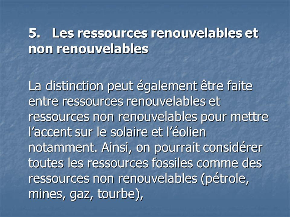 5. Les ressources renouvelables et non renouvelables La distinction peut également être faite entre ressources renouvelables et ressources non renouve