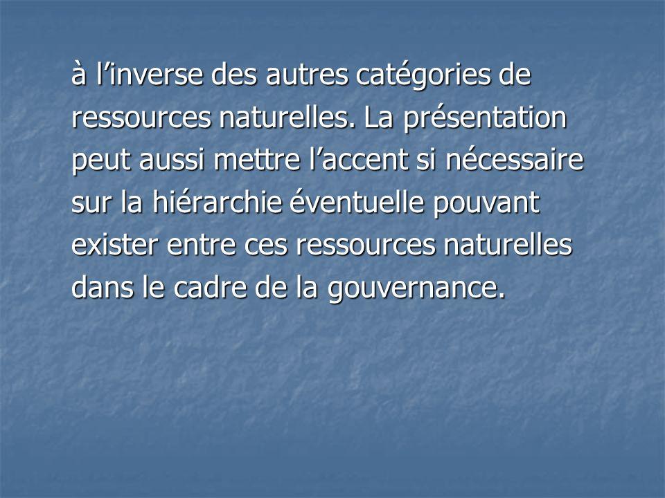 à linverse des autres catégories de ressources naturelles. La présentation peut aussi mettre laccent si nécessaire sur la hiérarchie éventuelle pouvan