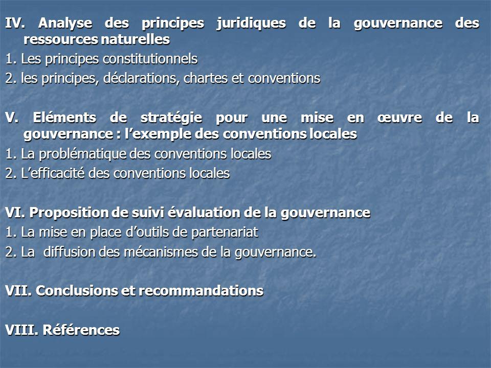 IV. Analyse des principes juridiques de la gouvernance des ressources naturelles 1. Les principes constitutionnels 2. les principes, déclarations, cha