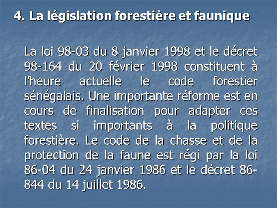 4. La législation forestière et faunique La loi 98-03 du 8 janvier 1998 et le décret 98-164 du 20 février 1998 constituent à lheure actuelle le code f
