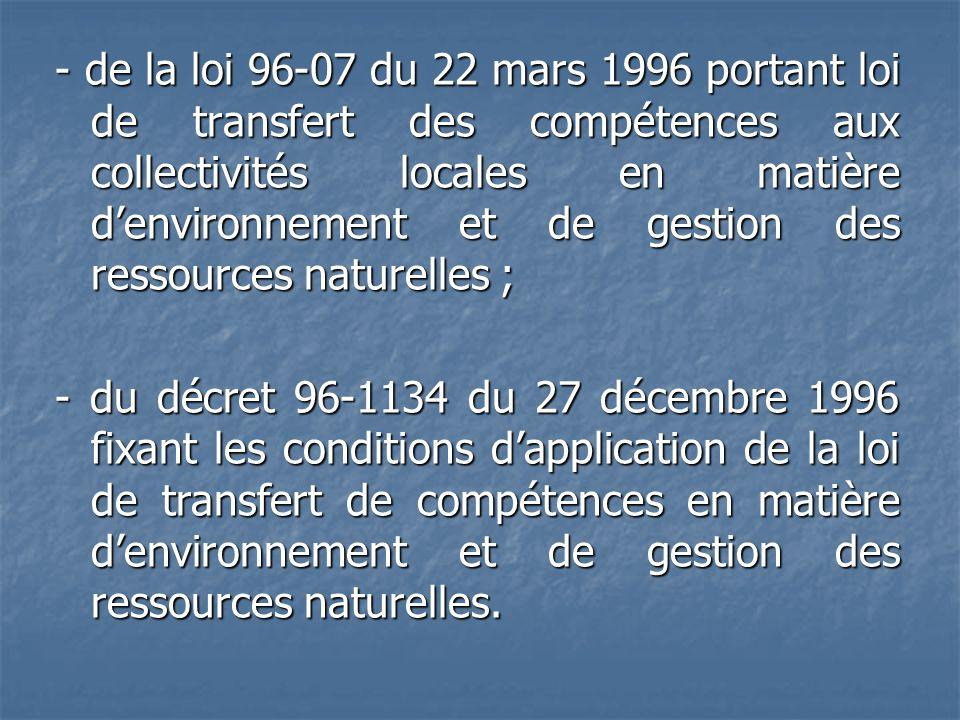 - de la loi 96-07 du 22 mars 1996 portant loi de transfert des compétences aux collectivités locales en matière denvironnement et de gestion des resso